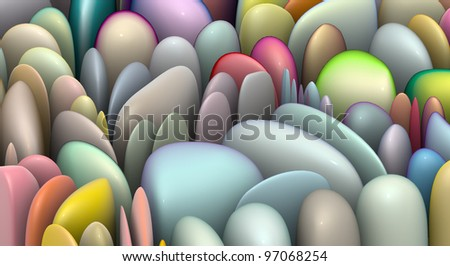 3d render abstract shapes in multiple bright colors