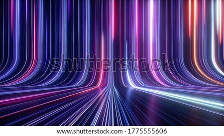 3d render, abstract simple neon background, ultra violet rays, blue and pink glowing lines, cyber network data, speed of light, space and time strings