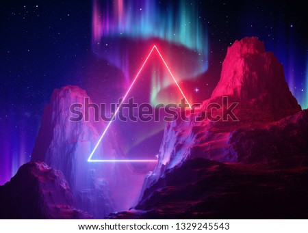 3d render, abstract space background, cosmic landscape, aurora borealis, parallel universe, triangular portal, pink blue neon light, virtual reality, esoteric, ultraviolet spectrum, laser frame, rock