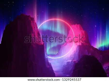 3d render, abstract space background, cosmic landscape, aurora borealis, parallel universe, alien portal, pink blue neon light, virtual reality, ultraviolet spectrum, round frame, laser ring, rocks