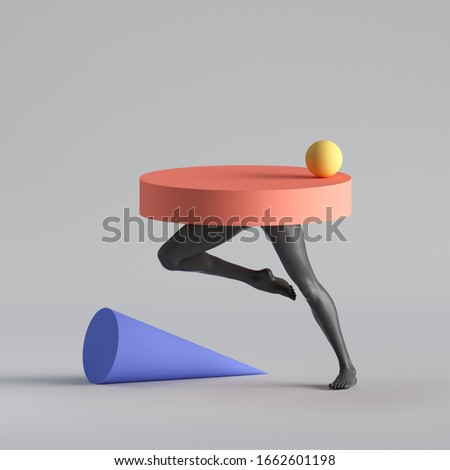 3d render, abstract surreal fashion concept, funny contemporary art. Colorful geometric objects and black legs isolated on white background. Empty podium, pedestal, table shop product display showcase stock photo
