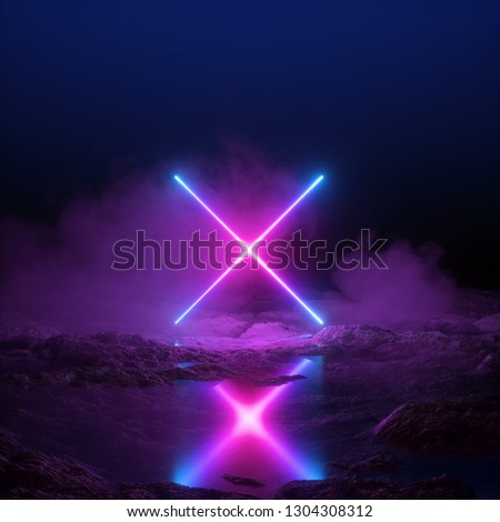 3d render, abstract ultraviolet background, neon light, cosmic landscape, cross shape, pink blue lines, virtual reality, energy source, blank space, laser show, smoke, fog, ground