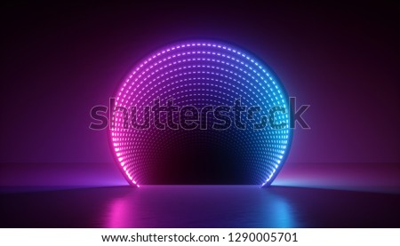 3d render, abstract ultraviolet background, pink blue neon light, round shape, portal, virtual reality, energy source, led, blank space, laser show