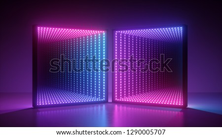 3d render, abstract ultraviolet background, pink blue neon light, square portal, virtual reality, energy source, blank space, laser show, light box