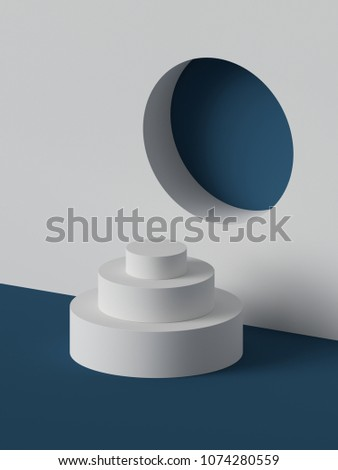 3d render, abstract white geometric background, fashion podium, mock up, blank template, minimalistic empty showcase, primitive shapes, round niche, art deco shop display
