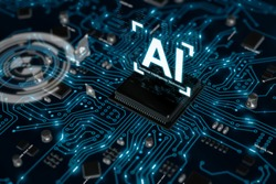 3D render AI artificial intelligence technology CPU central processor unit chipset on the printed circuit board for electronic and technology concept select focus shallow depth of field