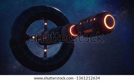 3d render. Alien spaceship concept