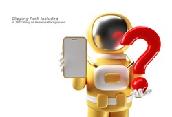 3d Render Astronaut Holding Question Mark with Blank Mobile Mockup Pen Tool Created Clipping Path Included in JPEG Easy to Composite.