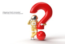 3d Render Astronaut with Question Mark think, Disappointment, Tired Caucasian Gesture's Pen Tool Created Clipping Path Included in JPEG Easy to Composite.