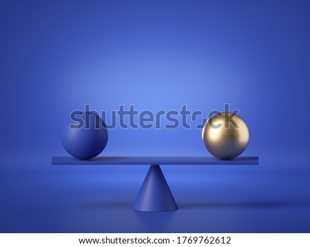 3d render, balancing balls placed on weighing scales, abstract geometric shapes isolated on blue background. Equivalent metaphor, balance concept. Modern minimal design