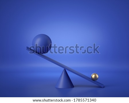 3d render, balls placed on weighing scales, isolated on blue background. Heavy gold ball overweight. Primitive geometric shapes. Comparison metaphor. Modern minimal design Сток-фото ©