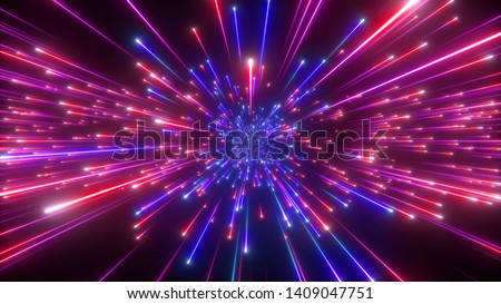 3d render, big bang, galaxy expanding, abstract blue red cosmic background, celestial beauty of universe, speed of light, fireworks, neon glow, cosmos, ultraviolet infrared light, outer space stars