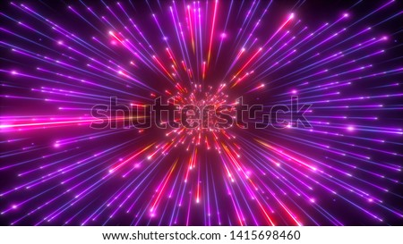 3d render, big bang, galaxy expanding, abstract purple red cosmic background, celestial beauty of universe, speed of light, fireworks, neon glow, cosmos, ultraviolet infrared light, outer space stars