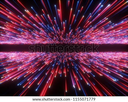 3d render, big bang, galaxy horizon, abstract cosmic background, celestial, beauty of universe, speed of light, fireworks, red blue neon glow, stars, cosmos, infrared light, outer space