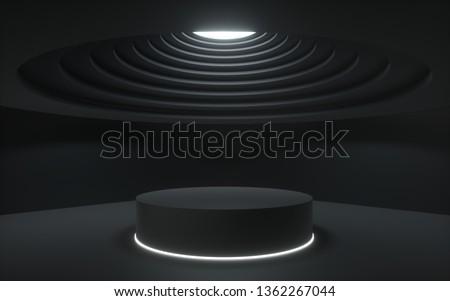 3d render,black abstract background, showcase platform mockup, white ceiling light, empty dark room, cylinder stand, podium