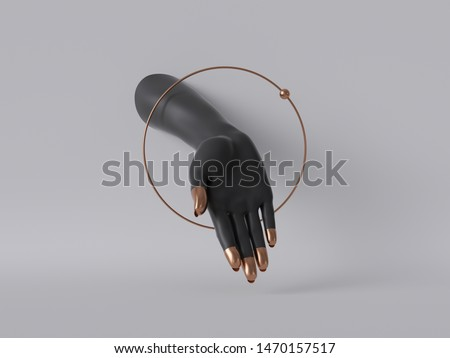 3d render, black decorative female mannequin hand isolated on white background, body part inside round frame, golden ring, feminist, fashion concept, fortuneteller or healer, clean minimal design