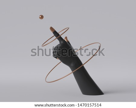 3d render, black decorative female mannequin hand isolated on white background, finger pointing up, spinning golden rings, body part, fashion concept, esoteric fortuneteller, clean minimal design