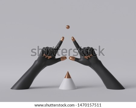 3d render, black decorative female mannequin hands isolated on white background, fingers pointing up, golden ball, body parts, fashion concept, cone shape, esoteric fortuneteller, clean minimal design