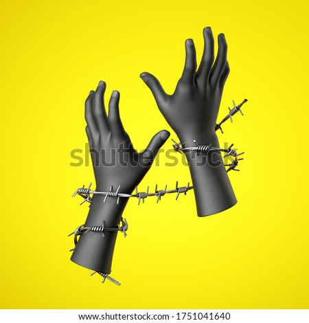 3d render, black human hands tied with barbed wire, isolated on yellow background. Human rights violation Сток-фото ©