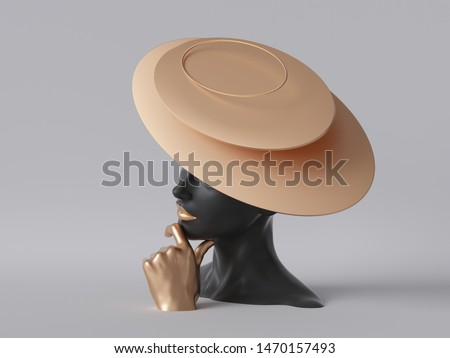 3d render, black mannequin woman head isolated on white background, golden hand, lady wearing unusual hat of gold, fashion concept, shop display, female body parts, clean minimal design