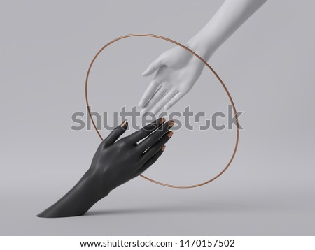 3d render, black white female hands isolated, minimal fashion background, helping hands inside round frame, golden ring, mannequin body parts, feminist, partnership concept, clean minimal design