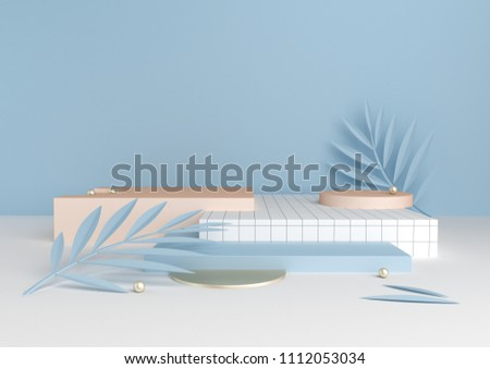 3D render blue and golden platforms with tropical leaves in trendy, modern style. Minimal geometric background. Mock up banner for product presentation. Geometric shapes in abstract composition.
