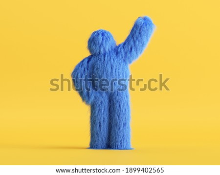 3d render, blue hairy yeti, cartoon character fluffy monster toy isolated on yellow background, standing pose. Colorful furry beast stands with hand up. Modern minimal concept