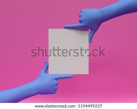 3d render, blue hands holding blank card, isolated on pink, abstract fashion background, shop display, mannequin body part, show, presentation