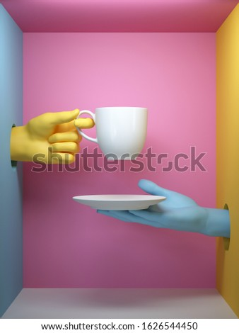 3d render, blue yellow hands holding white cup and saucer, isolated on pink background, female mannequin body parts inside box, minimal fashion background, helping hands concept