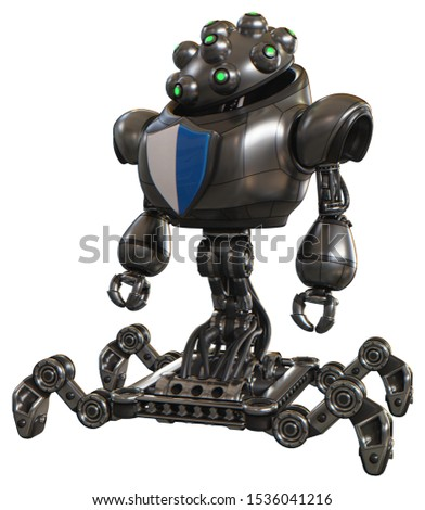 3d Render: Bot containing elements: techno multi-eyed domehead design, heavy upper chest, blue shield defense design, insect walker legs. Material: Metal. Situation: Standing looking right restful pos