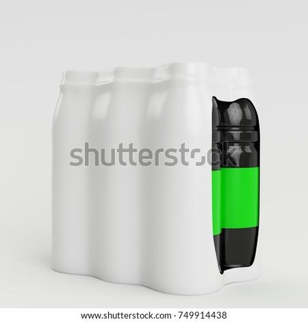 3D Render Bottle Shrink illustration