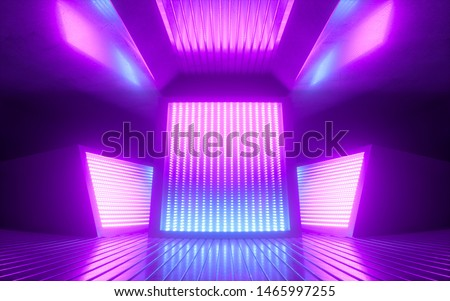 3d render, bright pink violet neon abstract background, glowing panels in ultraviolet light, futuristic power generating technology