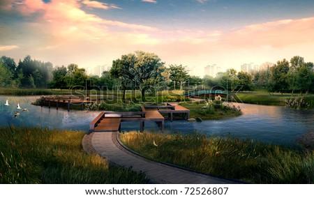3d render building landscape