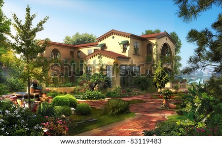 3d render building landscape - stock photo