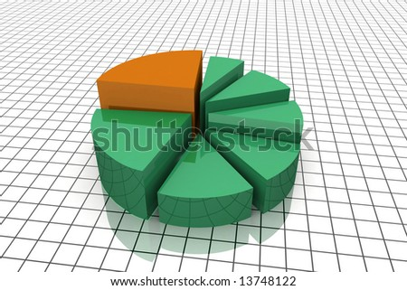 3D Render Business Pie Chart Graph