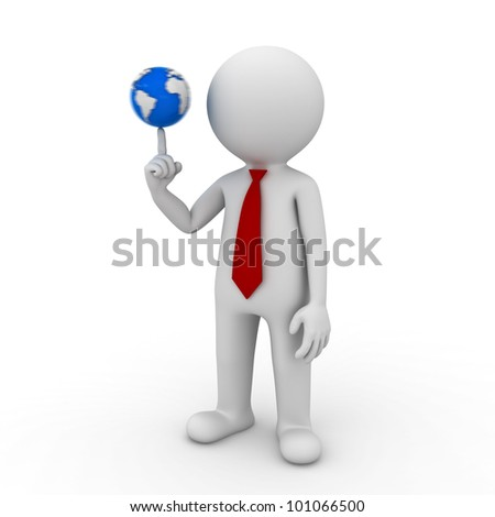 3d render businessman spinning the small world on his finger isolated on white background