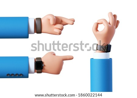 3d render, cartoon character businessman hands assorted gestures: crossed fingers, pointing finger, okay. Business clip art set isolated on white background