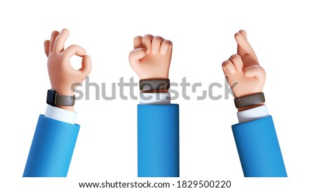 3d render, cartoon character businessman hands assorted gestures: okay, fist, crossed fingers. Business clip art set isolated on white background