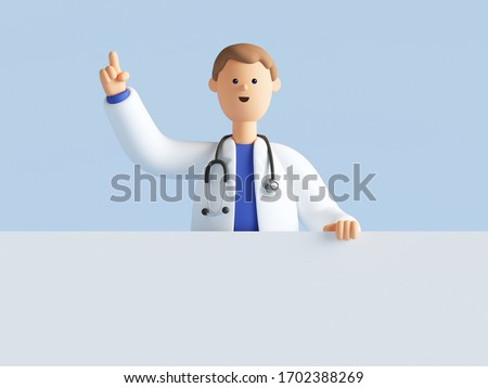 3d render, cartoon character doctor wearing uniform and stethoscope, hand up, medical background, blank banner, mockup with copy space.