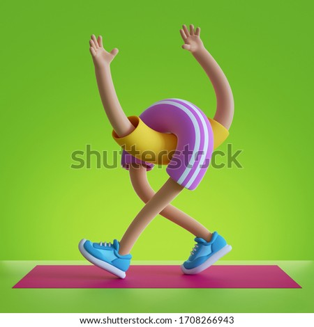 3d render cartoon character flexible body parts Isolated on green background. Hands up, walking legs, physical activity at home, indoor exercise routine on red mat. Funny sport motivation. Surrealism