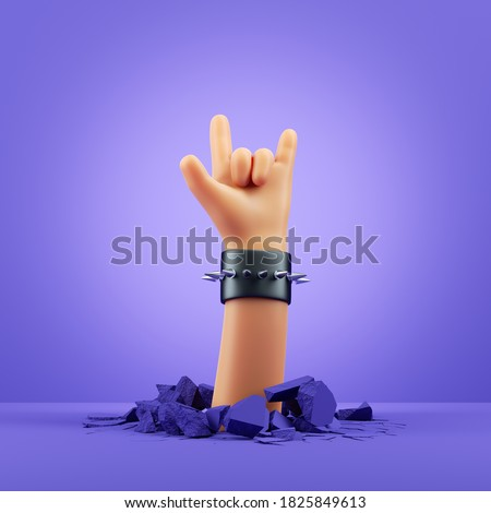 3d render, cartoon character hand, rock gesture, blank poster mockup. Rock concert clip art isolated on violet background