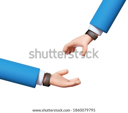 3d render, cartoon character man begging hand, give and take concept, business clip art isolated on white background Foto d'archivio ©