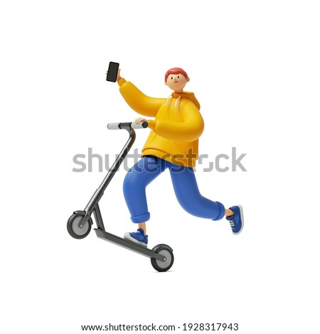 3d render, cartoon character young man wears yellow hoodie and blue trousers, holds smart phone, rides electric kick scooter. Modern urban transport sharing, clip art isolated on white background