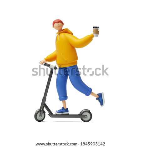 3d render, cartoon character young man wears yellow hoodie and blue trousers, rides electric kick scooter, holds take away coffee cup. Modern urban transport clip art isolated on white background