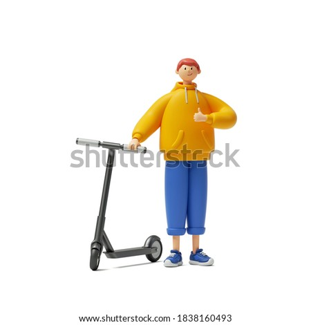 3d render cartoon character young man wears yellow hoodie and blue trousers, stands near the electric kick scooter, shows thumb up. Modern urban transportation clip art isolated on white background
