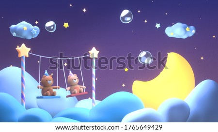 3d render cartoon cute bear wearing nightcap playing on swing above the clouds at night. Concept of good night and sleep tight.