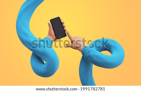 3d render, cartoon flexible hands in blue sweater hold smart phone with empty screen. Touchscreen technology. Funny clip art isolated on yellow background
