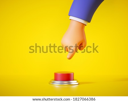 3d render, cartoon hand in blue sleeve is going to press the big red alert button isolated on yellow background. Launch metaphor, activation concept. Danger warning or fool protection