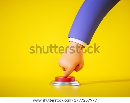 3d render, cartoon hand in blue sleeve pushes the red alert button isolated on yellow background. Launch metaphor, activation concept