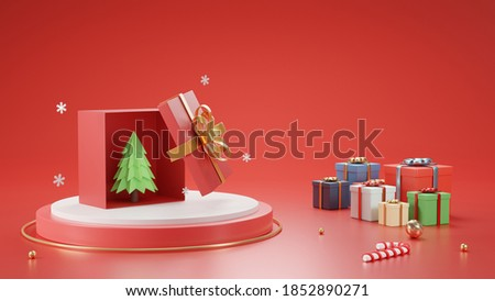 3D render Christmas and New Year's Day Open gift box